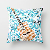 individually pasted hexagons by hand in a guitar shape.. my hand hurts now...   Throw Pillow by Studiomarshallarts