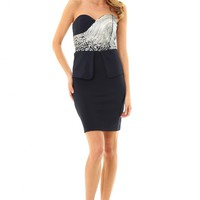 JD261 NAVY COLOR Stunning bandeau dress with sequin bust and