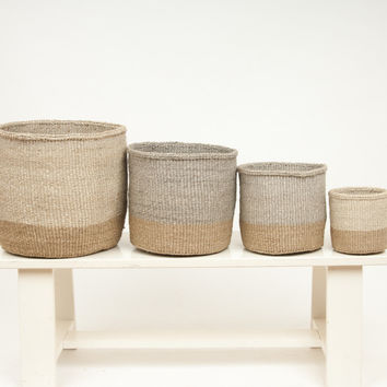 Two Tone Woven Storage Basket