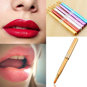MakeUp Women Portable Retractable Cosmetic Lip Brush Lipstick Gloss Beauty New  M01569