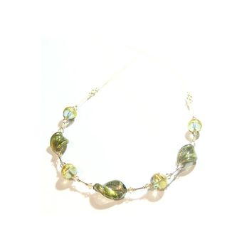 Murano Glass Olive Green Twist Gold Filled Necklace