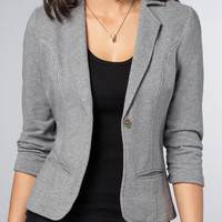 $58 Women's Gray Cotton Blazer | French Terry Blazer | fredflare.com