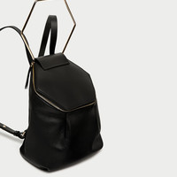 HEXAGONAL LEATHER BACKPACK DETAILS