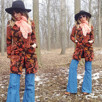 Vintage Psychedelic 90s does 70s Floral Print Tapestry Style Fitted Spring Jacket Coat || Size XS to S By Benneton Made In Italy