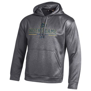 Under Armour Men's Notre Dame Fighting Irish Heathered Grey Football Armour Fleece Performance Hoodie