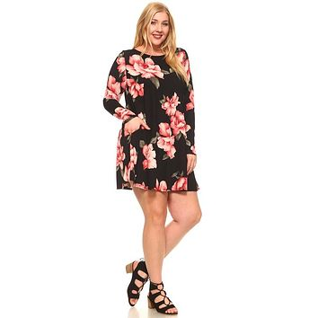 Women's Plus Size Floral Long Sleeve Loose Pocket