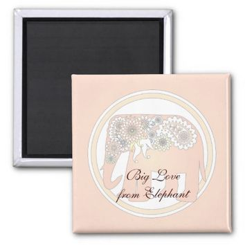 Pastel Rose Pink Paisley Elephant Cute Elegant 2 Inch Square Magnet