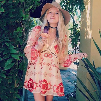 70's Siren Tunic Dress in Peach