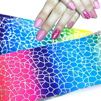 100cmx4cm Glitter Laser Nail Foil Sticker Polish Glue Transfer Adhesive Decal DIY Beauty Wraps Nail Decorations Supplies LAXK22