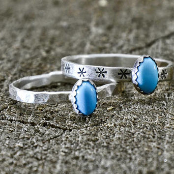 Turquoise Dainty Sterling Silver Ring Set or Individual Rings – 925 RG7154