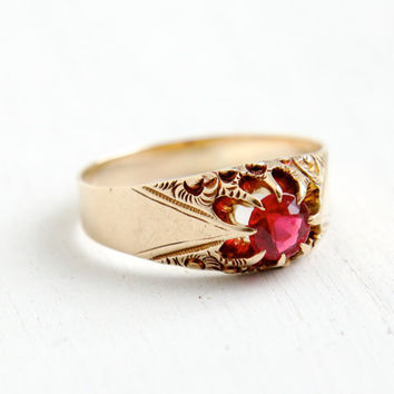 SALE- Antique Victorian 10K Gold Garnet Ring - Edwardian Late 1800s Early 1900s Men's Belcher Setting Fine Jewelry