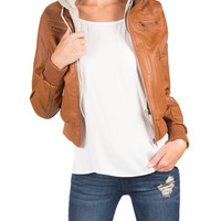 Hooded Leather Jacket - Tan - Large