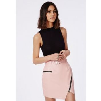 Belted Faux Leather Asymmetric Mini Skirt from MISSGUIDED
