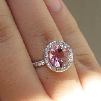 Estate Padparadscha Color 2.50ct + Sapphire & Diamond Halo Engagement Wedding Anniversary Ring Micro Pave Setting 14k White Gold Size 5