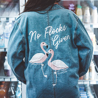No Flocks Given A Drew Oversized Denim Jacket - LA Blues