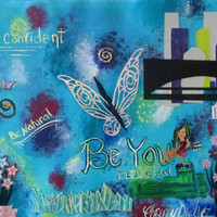 Art Collage, Tye Dye Art, Mixed Media Collage print, 18x24