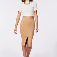 Missguided - Kabrie Front Split Midi Skirt Camel