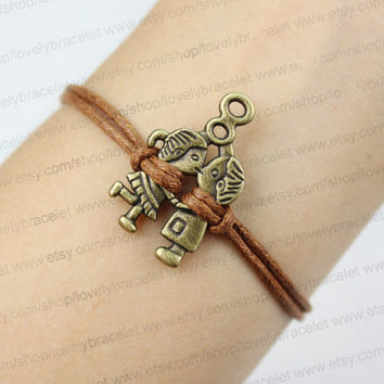 Vintage bronze boy kissing a girl bracelets, the best the anniversary gift