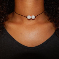Leather Double Pearl Choker Necklace