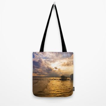 Weather over the lake Tote Bag by Tanja Riedel