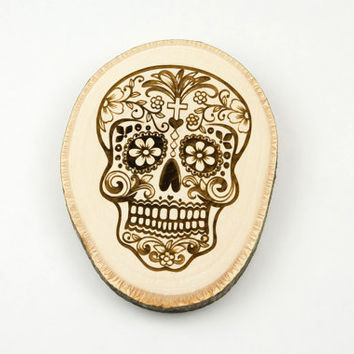 Laser Engraved Wood Plaque  Sugar Skull  The day of death, Calavera, House decorations