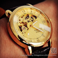 Men's Gold Watch Steampunk Leather - Boyfriend Birthday Gifts (WAT0107-GOLD)