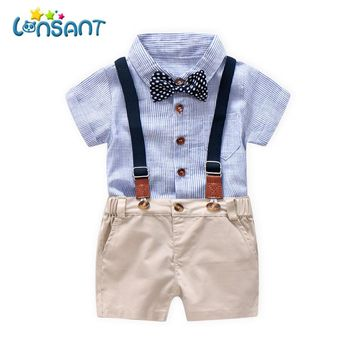 LONSANT 2018 summe fashion boys clothing Toddler Baby Boys Summer Gentleman Bowtie Short Sleeve Shirt+Overall Shorts Sets