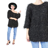 Vintage Shaggy Sweater Gold Black Fluffy Sweater Fuzzy Hairy Sweater Metallic Knit Sweater Slouchy Off Shoulder Sweater Sparkly Jumper (M)