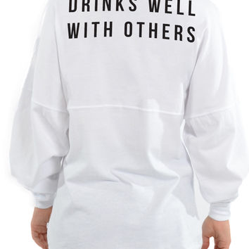 Drinks Well With Others - Long Sleeve Football Tee