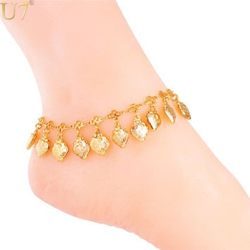 U7 Summer Beach Anklet Bracelet Chain Foot  Jewelry Gold 18K /Platinum Plated  Little  Strawberry Anklet For Women A319