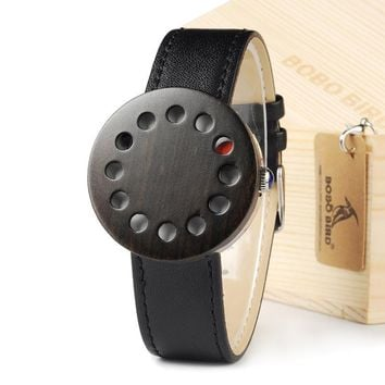 12 holes Design Wood Watches Mens