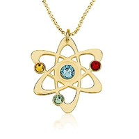 Science Symbol Necklace Chemistry Necklace Atom Necklace 18k Gold Plated Over Sterling Silver (16 Inches)