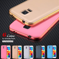 With Logo For Galaxy S5 Shell Metal Aluminum +Slim Back Capa Case For Samsung Galaxy S5 i9600 Luxury Hybrid Hard Armor Cover