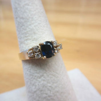 Estate 14k Yellow Gold .38cts Natural Blue Sapphire & Diamond Ring