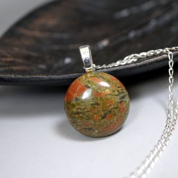 Large Unakite Necklace Silver, 925 Sterling Silver Green Stone 20mm Unakite Pendant,  Green Stone Heart Chakra Healing