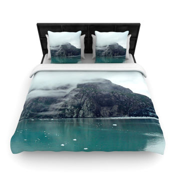 "Ann Barnes ""Into the Mist"" Teal Woven Duvet Cover"