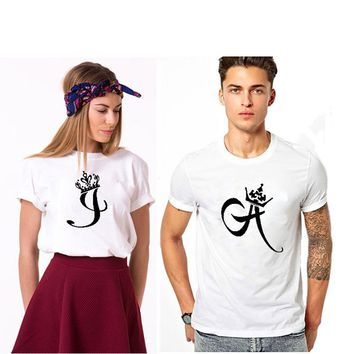 EnjoytheSpirit T-shirt for A Couple Initials of King and Queen Lovers Tshirt Leisure High Quality Crewneck Cotton Top Tee