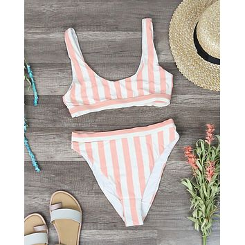 Dippin' Daisy's - Kylie High Waist High Cut Cheeky Bottom - Coral Stripes