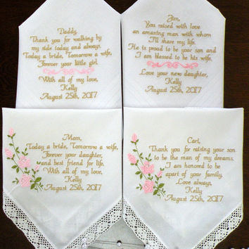 Give your parents a wedding gift to cherish Mother of the Bride and Groom Embroidered Wedding Handkerchiefs Set of Four By Canyon Embroidery