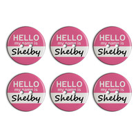 Shelby Hello My Name Is Plastic Resin Button Set of 6