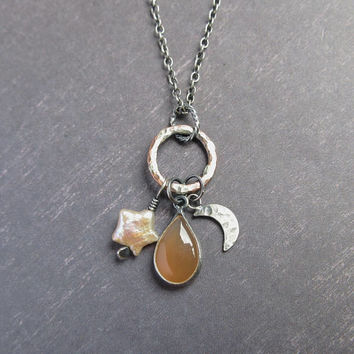Moonstone, Star Pearl, Crescent Moon Necklace, Cluster Charms, Sterling Silver Chain, Copper Hoop, Boho Jewelry