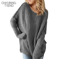 Charmingtrend Casual Sweater Women Solid Gray Loose Sweater Pullovers O Neck Female Claret Red Casual Boat Neck Sweaters