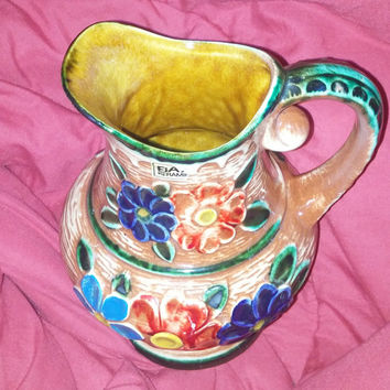 Vintage Retro 1960's Keramik Bay W.Germany Pottery Ceramic Pitcher Vase With Upraised Colorful Flowers  8""