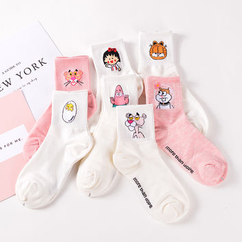Elegant Lovely Cartoon Sweet Cotton Women Socks Cute Animals Character Ladies and Female Socks Fashion Casual Short Socks Men