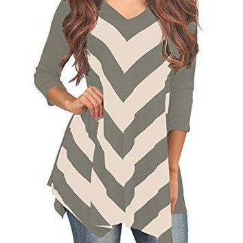 MIHOLL Womens Tunic 3/4 Sleeve V Neck Striped Tunic Top
