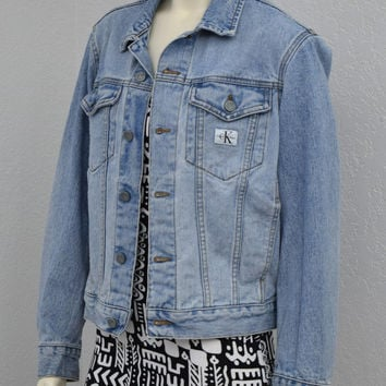 Vintage 90s Calvin Klein Faded Blue Jean Jacket, Oversized Denim Jacket, Light Wash Denim, Size S M