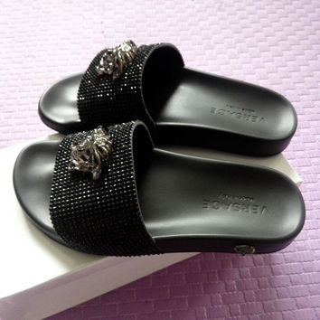 versace women fashion casual slipper shoes black  number 1