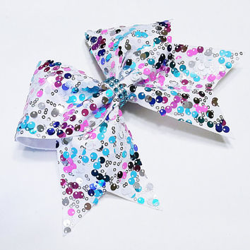Cheer bow, Multi colored cheer bow, reversible sequin cheer bow, cheerleading bow, softball bow, pop warner cheer bow, dance bow, hair bow