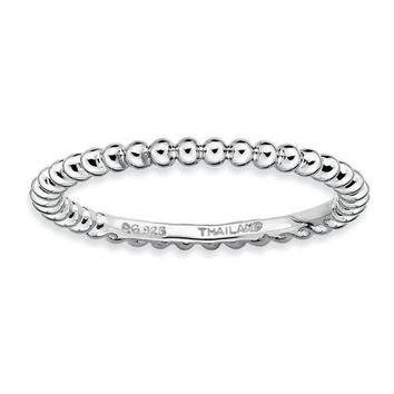 Sterling Silver Stackable Expressions Beaded Ring