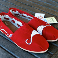 Red Canvas Many Mustache TOMS shoes